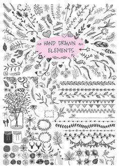 Hand drawn elements bundle by Bimbim on @creativemarket