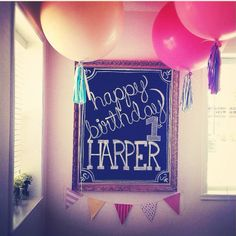 Happy first birthday chalk board. AND I would like one of these for my... Entryway? And it could be updated with menus, holidays, ooh! Greetings!!!