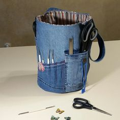 Upcycled jeans bucket bag
