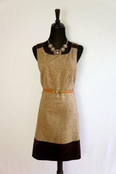 Michael Kors Brown & Gold Tweed Dress - $62