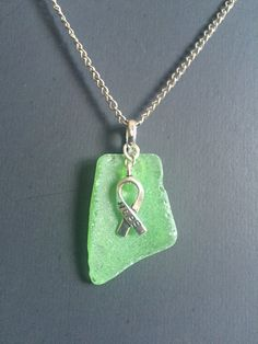 Green Seaglass Necklace by DeafDeliaDesigns on Etsy
