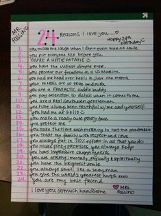 24 reasons why I love the birthday child Bday Gifts For Him, Bf Gifts, Birthday Gifts For Best Friend, Best Friend Gifts, Noel Gifts, Valentines For Best Friend, Cute Gifts For Friends, Cute Couple Gifts, Craft Gifts