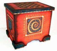 hand painted folk art furniture -