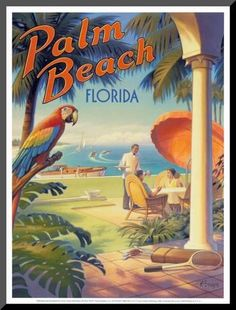 Westport, Connecticut Travel Guide Train Travel Tips from a Long-Haul Veteran Travel poster for Palm Beach, Florida. vintage travel poster t. Palm Beach Florida, Florida Travel, Florida Usa, Florida Beaches, Vintage Travel Posters, Vintage Postcards, Old Poster, Photo Vintage, Vintage Art