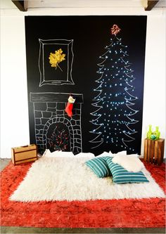 17 Alternative Christmas Trees ~ If you already have a chalkboard wall set up in your home why not play around with that for the holiday season? And if you are open to a large change to your decor, check out this fabulous Chalkboard wall DIY by Mr. Wall Christmas Tree, Noel Christmas, Xmas Tree, Christmas Photos, Christmas And New Year, Winter Christmas, All Things Christmas, Christmas Crafts, Christmas Decorations
