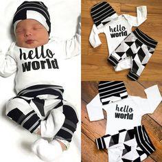 "Newborn Baby Boy /Girl Clothing Set ""Hello World "" Top  Long Pants Hat"