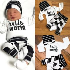 "Newborn Baby Boy /Girl Clothing Set ""Hello World "" Top  Long Pants Hat"
