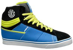 Element Omahigh Mens High Top Leather Skate Shoes, Blue Black Yellow, New