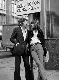 Serge Gainsbourg and Jane Birkin in Kensington Gardens Square, London