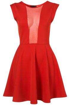 Mesh Insert Skater Dress - Dresses - Clothing - Topshop