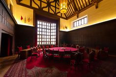The meeting room used by Truman, Churchill and Stalin) in the Cecilienhof Palace (site of the Potsdam conference from 16 July to 2 August 1945, at the end of World War II), Potsdam, Germany