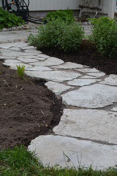 Stone path as garden edging - possibly to meet up with gravel driveway on opposite side Driveway Landscaping, Outdoor Landscaping, Outdoor Gardens, Gravel Driveway, Garden Edging, Garden Paths, Outdoor Walkway, Garden Guide, Contemporary Garden