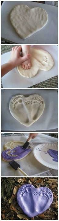 Salt Dough Footprint Heart family diy craft crafts easy crafts diy ideas diy crafts crafty diy decor kids crafts craft decorations how to tutorials Kids Crafts, Crafts To Do, Projects For Kids, Diy For Kids, Craft Projects, Fathers Day Crafts For Toddlers Diy, Creative Crafts, Crafts With Baby, Air Dry Clay Ideas For Kids