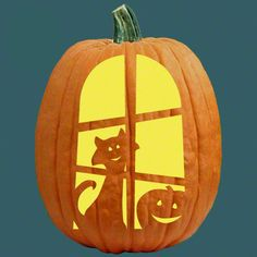 """One of 700+ FREE stencils for pumpkin carving and more! www.pumpkinlady.com """"Happy You're Home"""" #FreePumpkinCarvingPattern"""