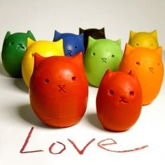 Custom Colors  6 Kitty Egg Upcycled Crayons by kittybblove on Etsy, $18.00
