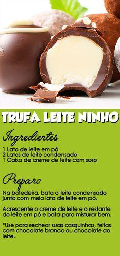 Trufa com recheio de leite ninho.  ■ CLIQUE NO PIN e descubra como VENDER e LUCRAR fazendo trufas na sua cozinha. Receita trufa de leite ninho passo a passo - receita completa trufa de leite ninho. #trufa #trufaleiteninho #trufadeleiteninho #leiteninho #leite #ninho #recheioninho #recheiotrufaninho #rendanacozinha Créditos: coisasdediva Chocolates, My Recipes, Sweet Tooth, Food Porn, Frozen, Food And Drink, Desserts, Cake Filling Recipes, Sweet Recipes
