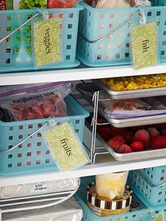 Stock  freezer with storage-smart ideas to make use of every inch of shelf space. Use plastic baskets to store foods by type and put a labeled tag on each. (shown: scrapbook paper and luggage tags.) Keep small adhesive labels and a permanent marker on hand to label individual containers.
