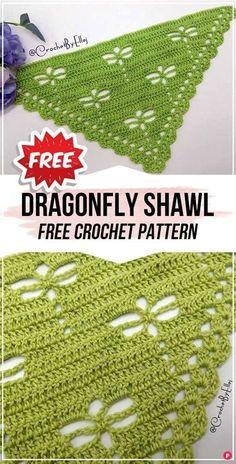 Crochet Shawl Diagram, One Skein Crochet, Crochet Shawl Free, Crochet Shawls And Wraps, Crochet Scarves, Doilies Crochet, Crotchet, Crochet Lace, Crochet Dragonfly Pattern