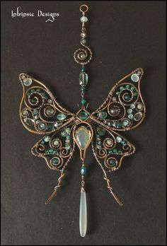 Silk Moth... Gemstone Wire Suncatcher in Seafoam Gems Wrapped in Raw Bronze by Intrinsic Designs, $180.00 USD