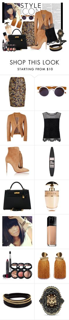 """""""Caramel Casted"""" by bettyboopbbw69 ❤ liked on Polyvore featuring Prada, Smoke x Mirrors, Richards Radcliffe, Diane Von Furstenberg, Christian Louboutin, Maybelline, Hermès, Laura Geller, Vita Fede and Gucci"""