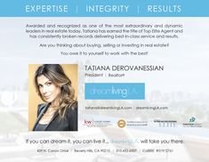 #TatianaDerovanessian #RealEstate #dreamliving|LA #dreamlivingLA #losangeles #top #producer #Realtor