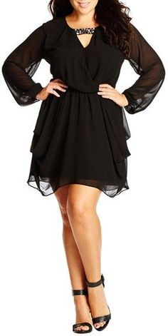 Plus Size Embellished Draped Chiffon Tunic