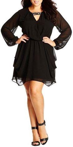 Plus Size Embellished Draped Chiffon Tunic