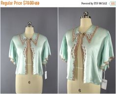 SALE  Vintage 1930s Silk Bed Jacket / 1930s by ThisBlueBird