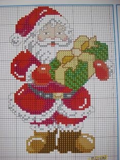 18 Ideas Crochet Flowers Pattern Free Chart For 2019 Santa Cross Stitch, Counted Cross Stitch Patterns, Cross Stitch Charts, Cross Stitch Designs, Cross Stitch Embroidery, Theme Noel, Crochet Flower Patterns, Crochet Flowers, Christmas Embroidery