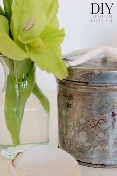 How to rust and galvanize a shiny tin.