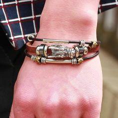 Dragon's Head Vintage Style Leather Bracelet