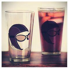 """THE AVIATOR Drinking Glass JPAERO""  Sold by CafePress http://www.cafepress.com/jpaero.1667828433  #aviator #vintage #aviationlover #drinking #aviatorbeerglass #drinkware"