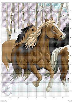 Schema punto croce Cavalli inverno 1
