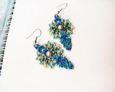 Micro macrame earrings - Teal Blue Wheat Unique gift for her Boho