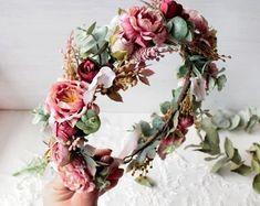 Wedding Flower Crowns and Bridal Headpieces от LisaUaShop на Etsy Bridal Hair Flowers, Flower Headpiece, Bridesmaid Flowers, Wedding Flowers, Flower Girl Crown, Flower Crowns, Mustard Flowers, Floral Crown Wedding, Burgundy Flowers