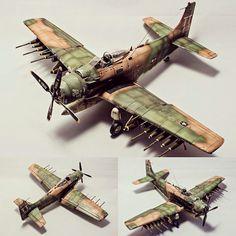 "Usina dos Kits""A-1J Skyraider 1/48 Tamiya. Modeler Antti Pentikäinen #scalemodel #plastimodelismo #miniatura #miniature #maqueta #maquette #modelismo…"""