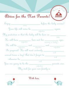 baby shower mad lib advice