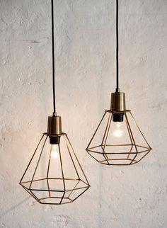 Metal Wire Diamond Pendant Lamp DIY Industrial Vintage ...