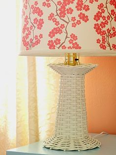 A Crafty Little Room Makeover. Painting LampshadesPainted LampshadeLamp  BasesDrillCherry BlossomWickerLighting IdeasFor ...