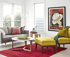 Freedom  Studio 2.5 seat fabric sofa in Arena Cement $699  Astrid chair in Dexter Lemongrass $299