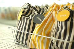 Inspiration photo for favors and gift. Sew a simple drawstring bag to fill.  The stripes look great, but you can can use any fabric that fits your theme or season.