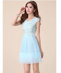c793aef0bc2 Women Korean Summer Organza Short Puff Sleeve Crew Neck Embroidery Blue  Lace Dress