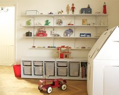 Interior, Traditional Kids Decoration Laminated Wooden Floor Wall Mounted Shelving House Toys At Ikea Playroom Designs To Make Your Kids Fun And Play Safely: Ikea Playroom Designs to Make Your Kids Fun and Play Safely