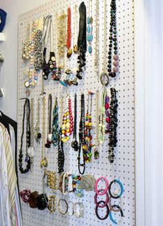 pegboard jewelry organizer - inexpensive and effective!