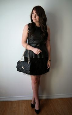 Closet Full Of Thrills :: Outfit {Holiday Festivities ~ Black & Gold + Leather & Feathers}
