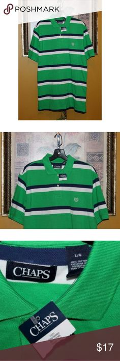 """Chaps men's green striped polo shirt L Condition: brand new w/ tags  Special features: -  Material: 100% cotton  Closure: pull over w/ buttons  Care: machine washable  Color:?kelly green,blue,white  Lining: no  Size: L  Measurements; chest: 23"""" length: 32""""(shoulder to hem)  Style: polo shirt  Brand name: CHAPS Chaps Shirts Polos"""