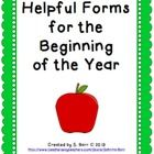 Helpful Forms For the Beginning of the Year This product was created keeping in mind how busy the beginning of the year can be. I have created many...