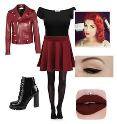 Punk pinup by jazzydyelove on Polyvore featuring polyvore, fashion, style, Yves Saint Laurent, SPANX, Pilot, Jeffrey Campbell, Anatomy Of and clothing