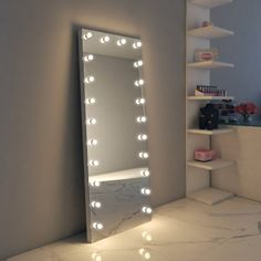 Full Length Hollywood Mirror, Makeup Vanity Mirrors with Lights - Illuminated Mi. Full Length Hollywood Mirror, Makeup Vanity Mirrors with Lights - Illuminated Mirrors Long Mirror With Lights, Makeup Vanity Mirror With Lights, Long White Mirror, Lights Around Mirror, Hollywood Mirror With Lights, Full Body Mirror, Full Length Mirror Vanity, Fancy Mirrors, Lighted Wall Mirror