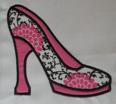 $2.95 Applique High Heel Shoe Machine Embroidery Design